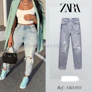 Zara Ripped Mom Fit Jeans Size 4